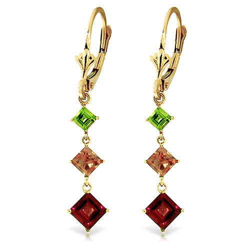 Garnet, Peridot and Citrine Three Stone Drop Earrings 4.8ctw in 9ct Gold