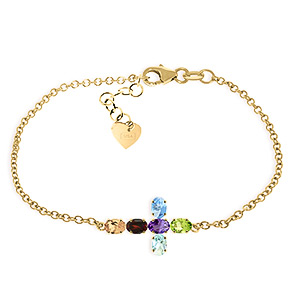 Amethyst Peridot and Garnet Adjustable Cross Bracelet 1.68ctw in 9ct Gold