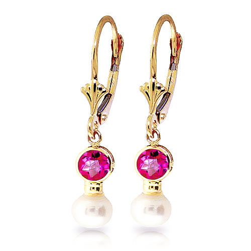 Pearl and Pink Topaz Drop Earrings 2.7ctw in 9ct Gold
