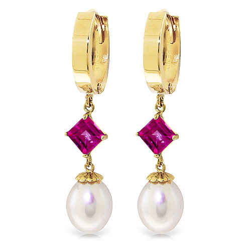 Pearl and Pink Topaz Droplet Huggie Earrings 9.5ctw in 9ct Gold