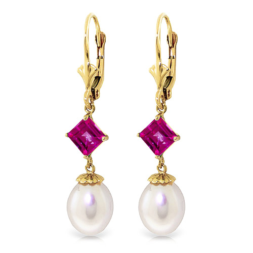 Pearl and Pink Topaz Droplet Earrings 9.5ctw in 9ct Gold