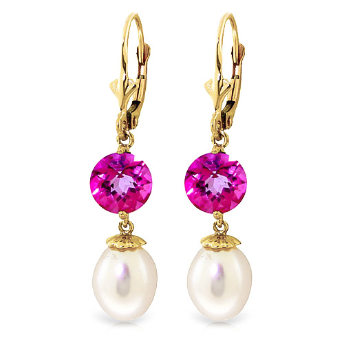 Pearl and Pink Topaz Droplet Earrings 11.1ctw in 9ct Gold