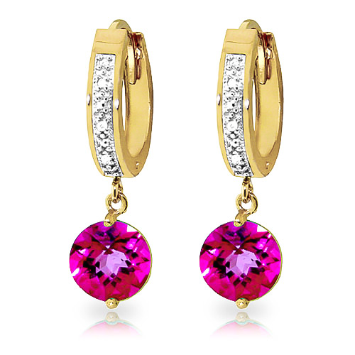 Diamond and Pink Topaz Huggie Earrings in 9ct Gold
