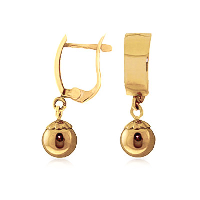 Ball Huggie Drop Earrings in 9ct Gold