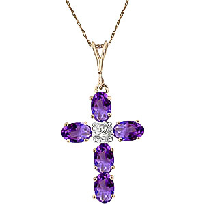 Amethyst and Diamond Rio Cross Pendant Necklace 1.73ctw in 9ct Gold
