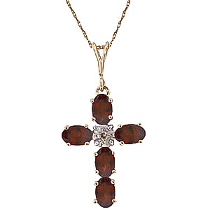 Garnet and Diamond Rio Cross Pendant Necklace 1.73ctw in 9ct Gold