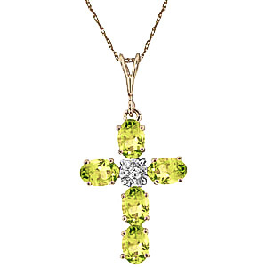 Peridot and Diamond Rio Cross Pendant Necklace 1.73ctw in 9ct Gold