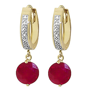 Diamond and Ruby Huggie Earrings in 9ct Gold