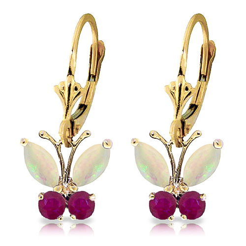 Opal and Ruby Butterfly Drop Earrings 1.39ctw in 9ct Gold