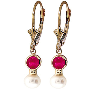 Pearl and Ruby Drop Earrings 2.7ctw in 9ct Gold