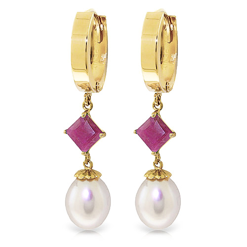 Pearl and Ruby Droplet Huggie Earrings 9.5ctw in 9ct Gold