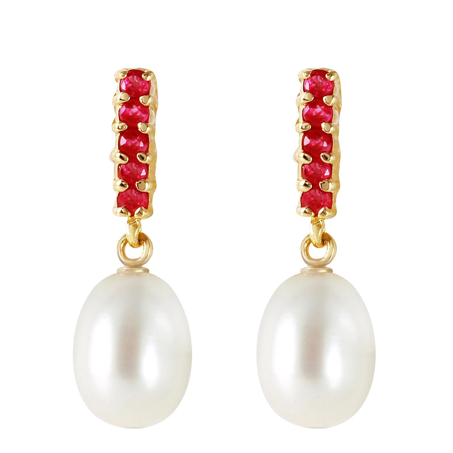 Pearl and Ruby Stud Earrings 8.4ctw in 9ct Gold