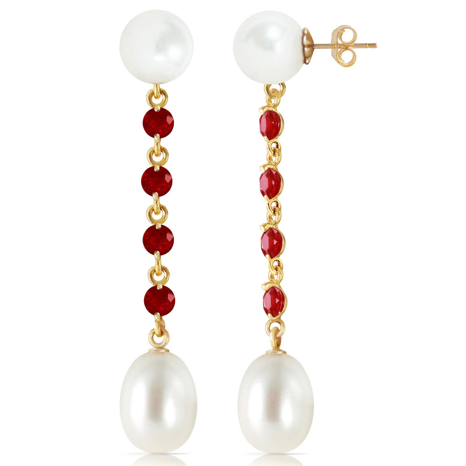 Pearl and Ruby by the Yard Drop Earrings 11.0ctw in 9ct Gold