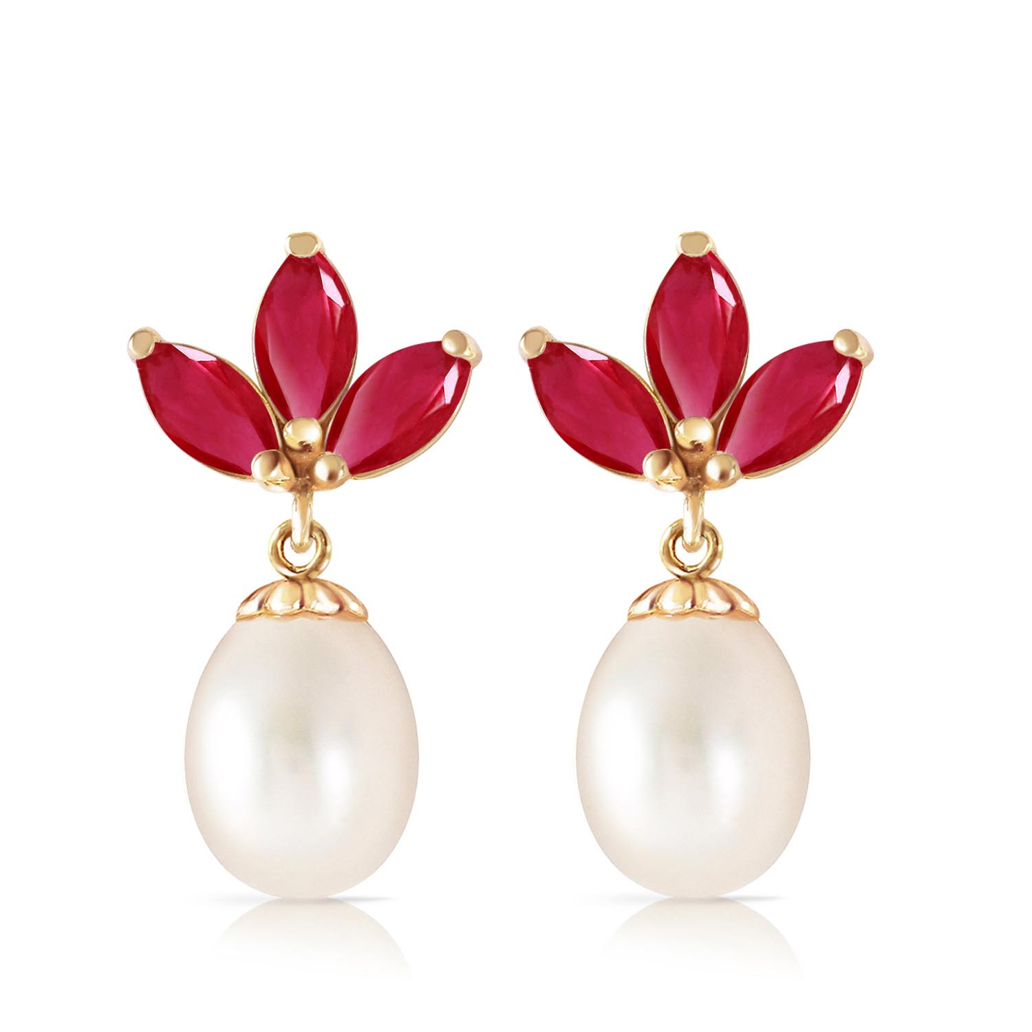 Pearl and Ruby Petal Drop Earrings 9.5ctw in 9ct Gold