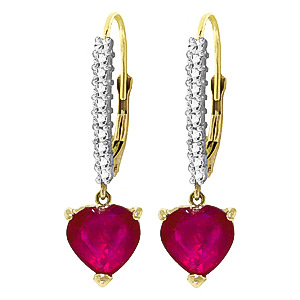 Diamond and Ruby Laced Drop Earrings in 9ct Gold