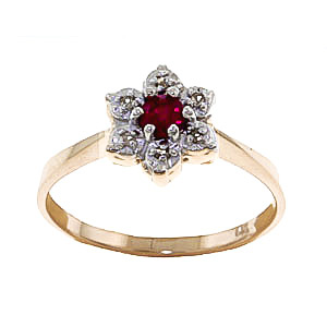 Diamond and Ruby Wildflower Cluster Ring in 9ct Gold