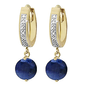 Diamond and Sapphire Huggie Earrings in 9ct Gold