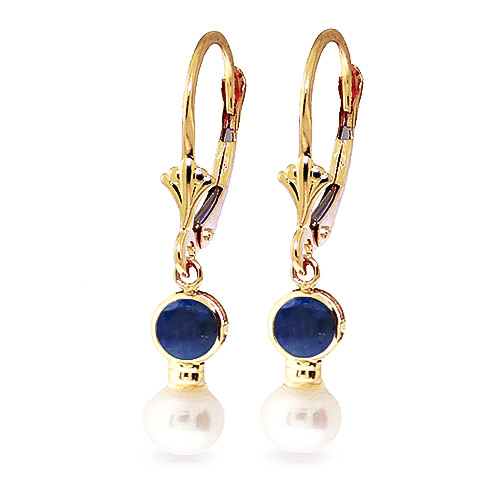 Pearl and Sapphire Drop Earrings 2.7ctw in 9ct Gold