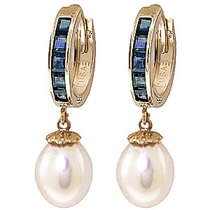 Pearl and Sapphire Huggie Earrings 9.3ctw in 9ct Gold