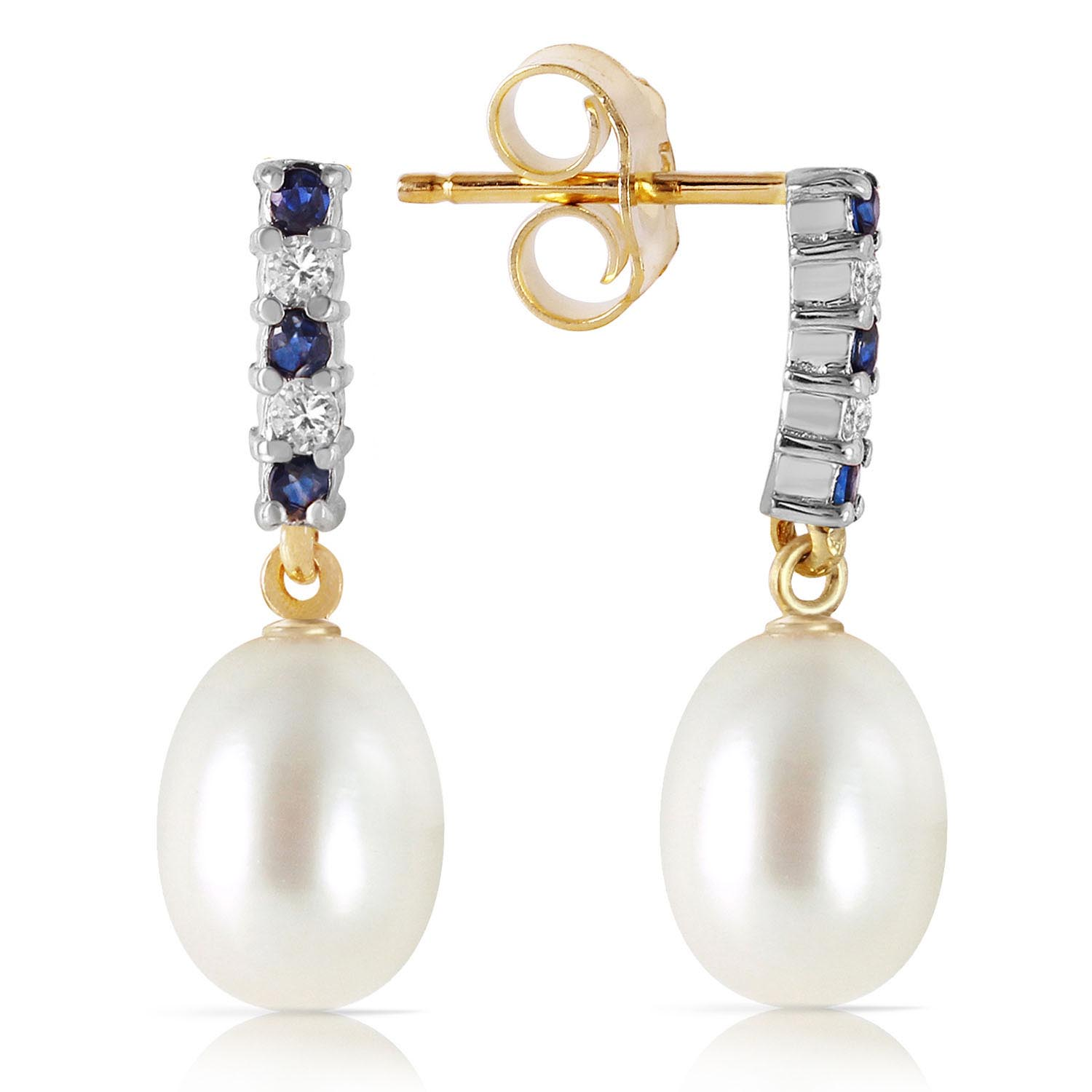 Pearl, Sapphire and Diamond Stud Earrings 8.24ctw in 9ct Gold