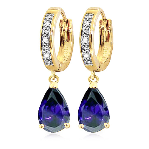 Diamond and Sapphire Droplet Huggie Earrings in 9ct Gold