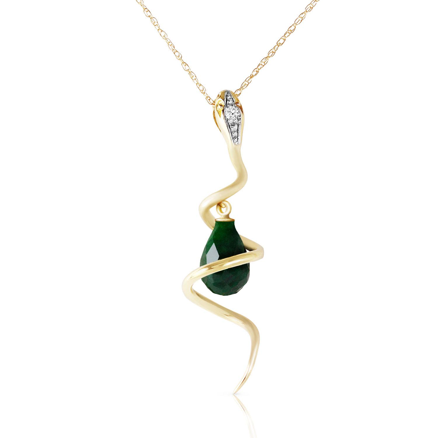 Emerald and Diamond Serpent Pendant Necklace 3.3ct in 9ct Gold