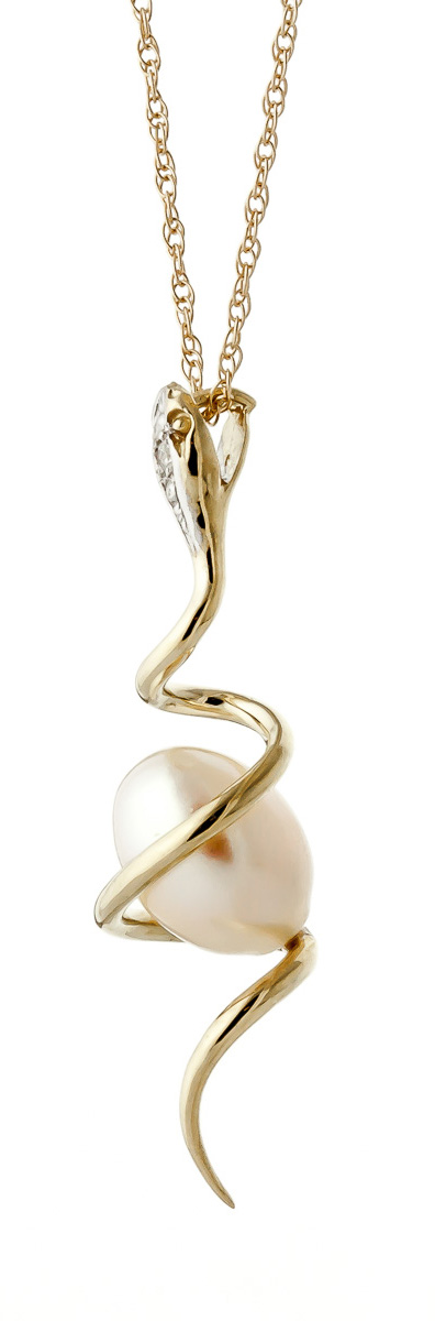 Pearl and Diamond Serpent Pendant Necklace 4.0ct in 9ct Gold