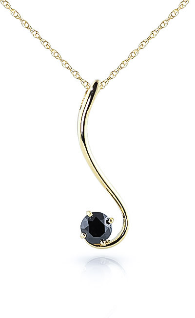 Round Brilliant Cut Black Diamond Pendant Necklace in 9ct Gold
