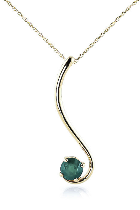 Round Brilliant Cut Emerald Pendant Necklace 0.55ct in 9ct Gold