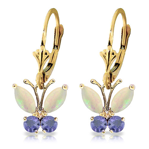 Opal and Tanzanite Butterfly Drop Earrings 1.0ctw in 9ct Gold