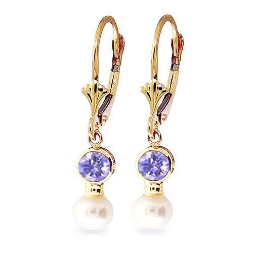 Pearl and Tanzanite Drop Earrings 2.7ctw in 9ct Gold