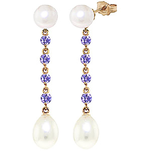 Pearl and Tanzanite by the Yard Drop Earrings 11.0ctw in 9ct Gold