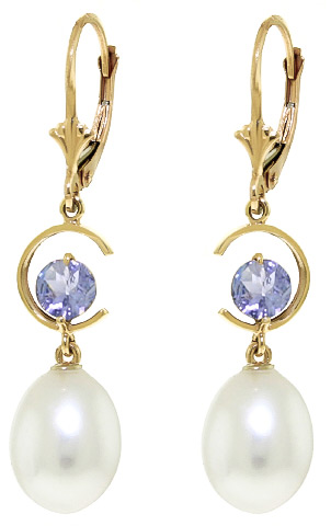 Pearl and Tanzanite Drop Earrings 9.0ctw in 9ct Gold