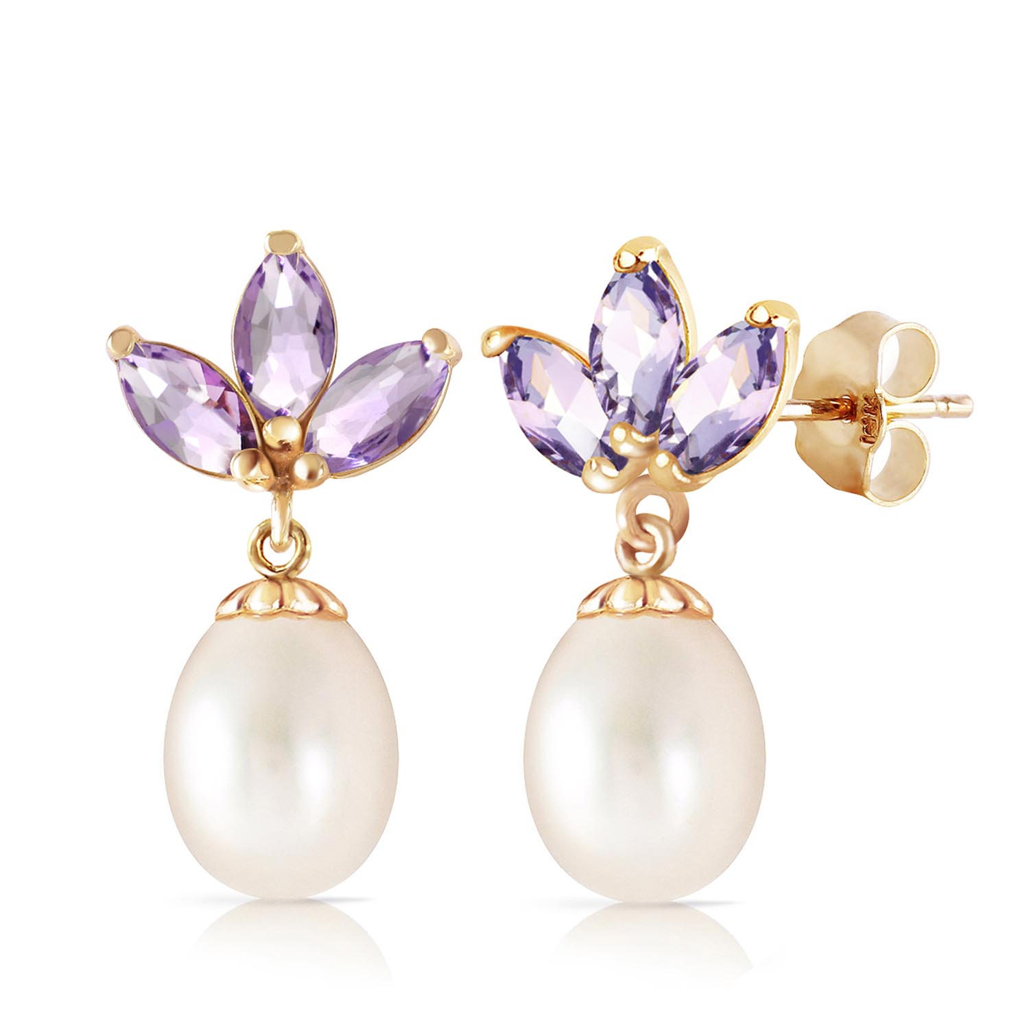 Pearl and Tanzanite Petal Drop Earrings 9.5ctw in 9ct Gold