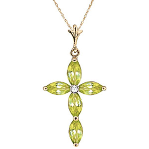 Peridot and Diamond Vatican Cross Pendant Necklace 1.08ctw in 9ct Gold