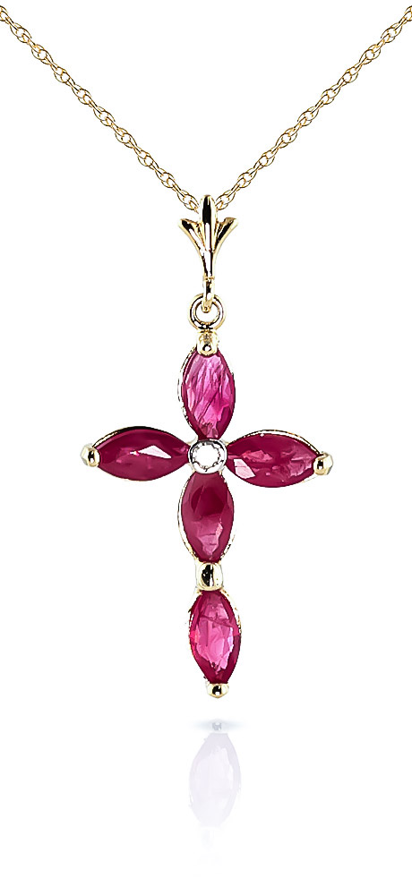 Ruby and Diamond Vatican Cross Pendant Necklace 1.08ctw in 9ct Gold