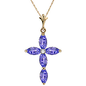 Tanzanite and Diamond Vatican Cross Pendant Necklace 1.08ctw in 9ct Gold