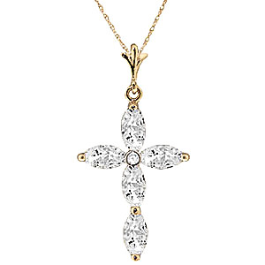 White Topaz and Diamond Vatican Cross Pendant Necklace 1.08ctw in 9ct Gold