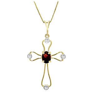 Garnet and Diamond Venetian Cross Pendant Necklace 0.45ct in 9ct Gold
