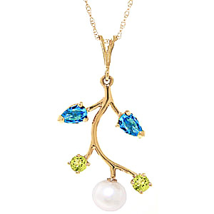 Pearl Blue Topaz and Peridot Vine Pendant Necklace 2.7ctw in 9ct Gold