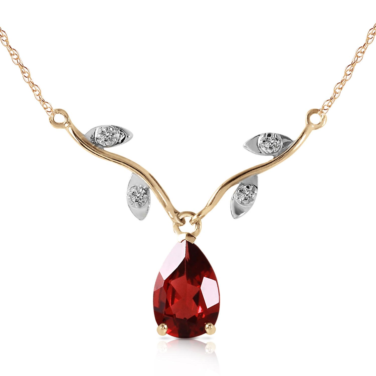 Garnet and Diamond Vine Branch Pendant Necklace 1.5ct in 9ct Gold