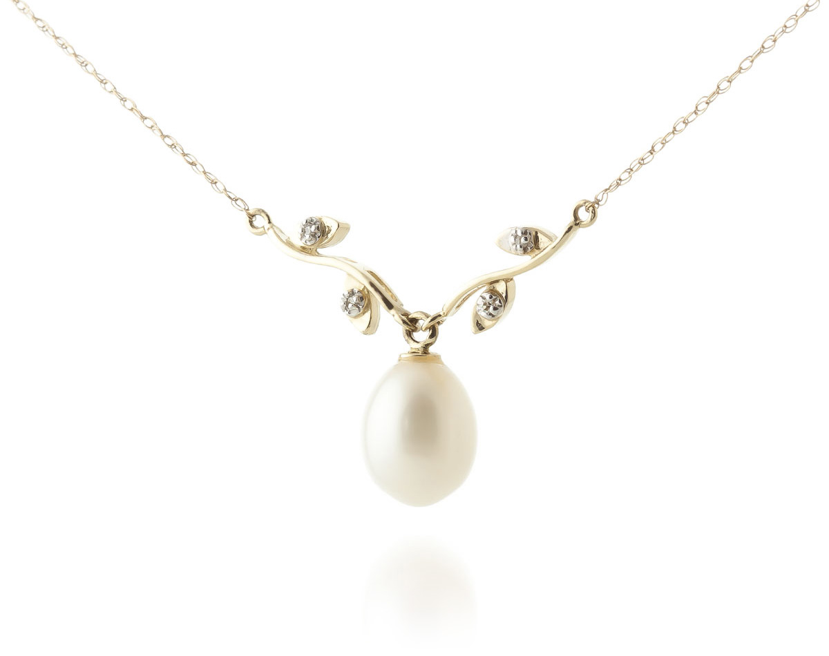 Pearl and Diamond Vine Branch Pendant Necklace 4.0ct in 9ct Gold