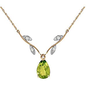 Peridot and Diamond Vine Branch Pendant Necklace 1.5ct in 9ct Gold