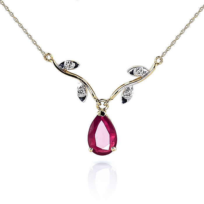 Ruby and Diamond Vine Branch Pendant Necklace 1.5ct in 9ct Gold