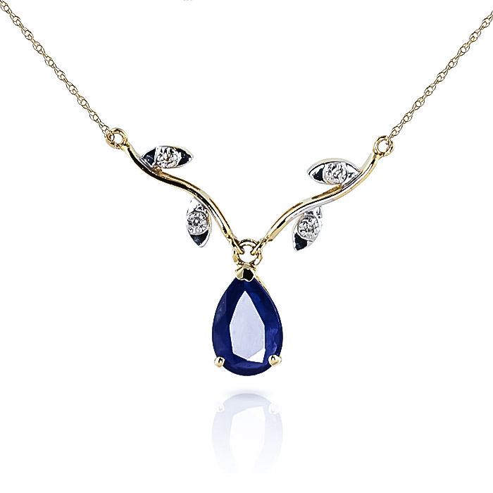 Sapphire and Diamond Vine Branch Pendant Necklace 1.5ct in 9ct Gold