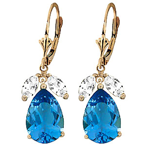 Blue Topaz and White Drop Earrings 13.0ctw in 9ct Gold