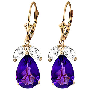 Amethyst and White Topaz Drop Earrings 13.0ctw in 9ct Gold