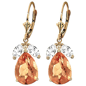 Citrine and White Topaz Drop Earrings 13.0ctw in 9ct Gold