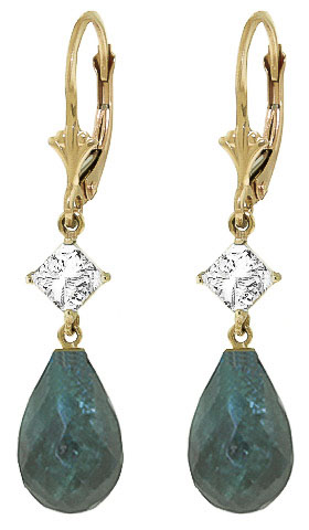 Emerald and White Topaz Drop Earrings 18.6ctw in 9ct Gold