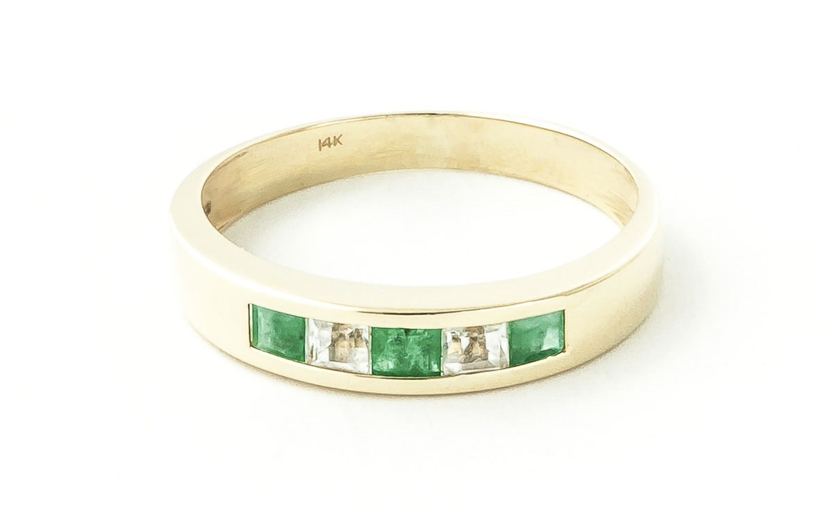 Emerald and White Topaz Ring 0.78ctw in 9ct Gold